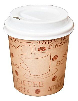 Disposable Espresso Cups with Lids - 4 Ounce Cafe Paper Coffee Cup with Lid - in