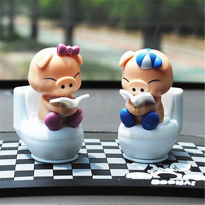 Solar Powered Flip Flap Bobble Head Pigs Dancing Toy Car Home Room Decor Gift