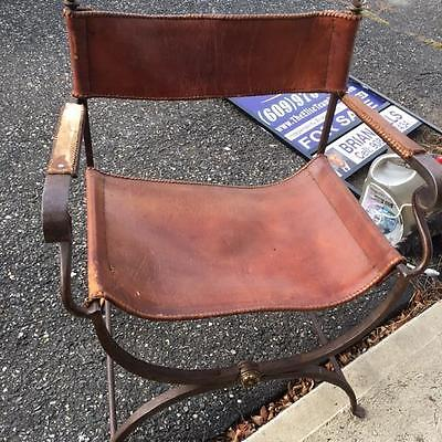 Vtg Mid Century Spanish Iron And Leather Folding Throne Chair Lot Of 4