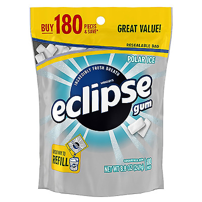 Eclipse Sugar Free Gum, Polar Ice, 180 Piece Bag