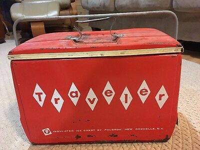 Vintage 1950's Traveler Ice Chest Cooler by Poloron New York HTF metal Picnic