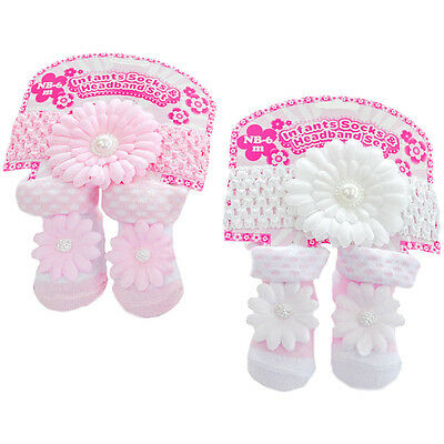 Glam Baby Girl Headband And Sock Set (Your Choice: Pink Or White) New