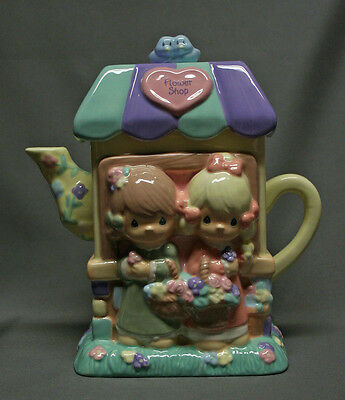 Precious Moments Flower Shop Teapot Figurine Houston Harvest Pastel Spring NICE