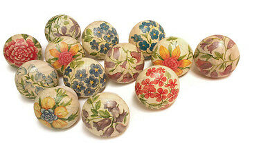 13x Wooden Drawer Furniture Knobs Door Handles Decorated Flowers crafts 40mm