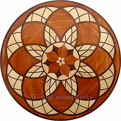 "18"" Assembled Wood Floor Inlay 246 Piece Stained Glass Flower Flooring Table Box"