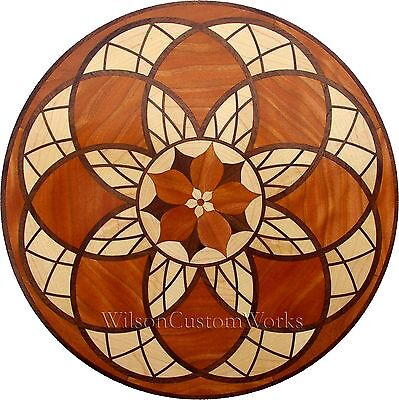"24"" Assembled Wood Floor Inlay 246 Piece Stained Glass Flower Flooring Table Box"