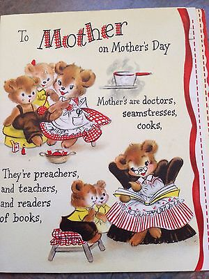 Mamma Bear Cubs Family Cooking Rose Multi Pages Mother's Day Vtg Hallmark Card