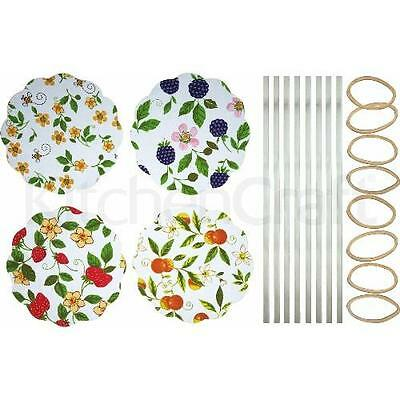 Home Made Pack of 8 Fruit Patterned Fabric Jam Cover Kits