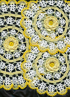"""Sunny Yellow Rose Crochet Set of 3 Flower Doily Doilies approx. 11"""" and 7"""""""