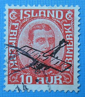 ICELAND 1928 Chr X Airmail overprinted Used Scott C1  Facit 160