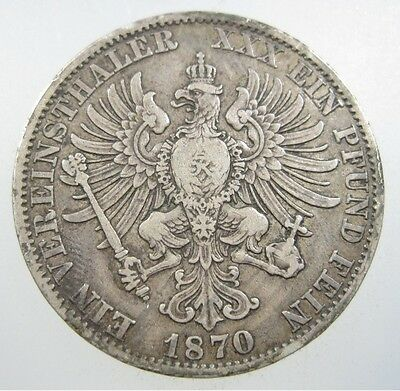 Germany Prussia 1 Thaler 1870 A Silver #r Wilhelm Koenig German State Crown Coin