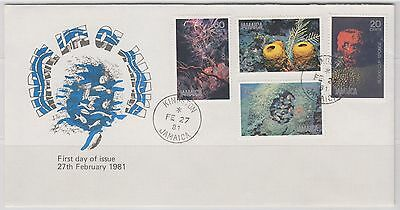 Jamaica Sc. 495 - 498 Marine Life On 1981 FDC