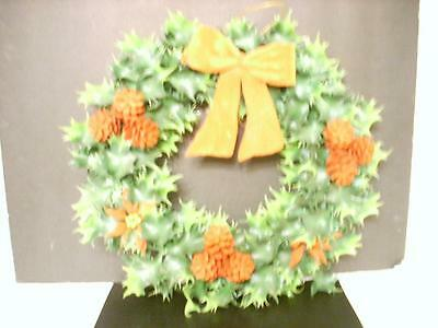 Vintage Plastic Wreath W/ Holly, Pine Cones, And Poinsettias (N2)