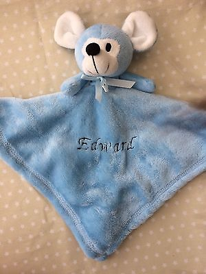 Personalised Baby Comforter Blanket New Baby Gift Christening Gift Blue