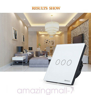SESOO Home Wall Light Touch Remote Switch Crystal Panel 1Gang 1Way Black EU UK D
