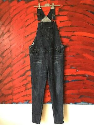jojo maman bebe Maternity Dungarees Size 14 Blue Stretchy Excellent Condition