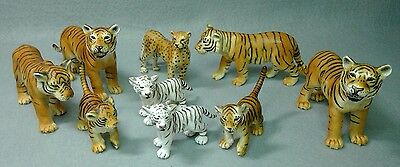 Schleich Wild Life Animals 9, Tiger, Tigress, Cub, White Tiger Cub, Cheetah