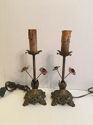 VINTAGE PAIR ITALIAN TOLE CANDELABRA TABLE LAMPS Rewired