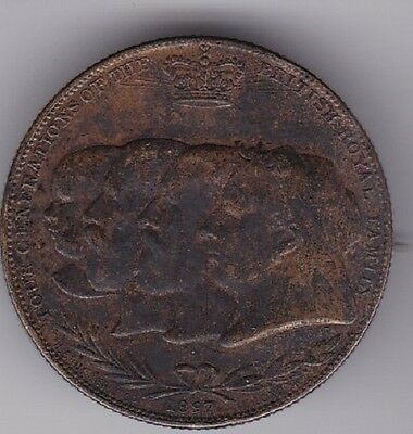 UK 1897 Golden Jubilee Medal 4 Generations of British Royal Family pin