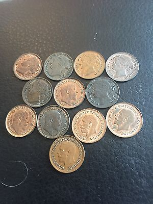 Victoria Third Farthings X 12 All Nice Grade