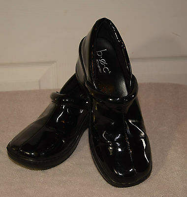 BOC Born Concept Womens Shiny Black Slip On Clogs Loafers Shoes 8.5/40
