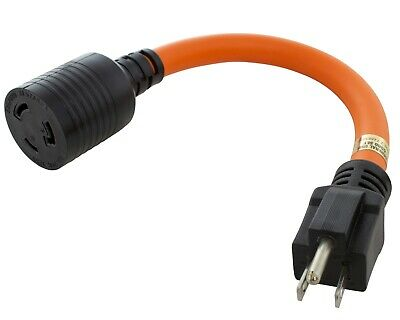 15 Amp NEMA 5-15 Male to 20 Amp NEMA L5-20 Female Adapter Cord by AC WORKS™