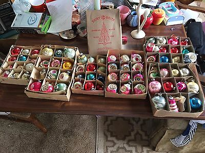 Huge Lot of Vintage Christmas Ornaments, Indents, Stencils, Mostly Shiny Bright