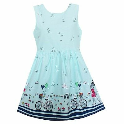 Girls Dress Blue Heart Bicycle Girl Party Holiday Princess Children Cloth Size 2