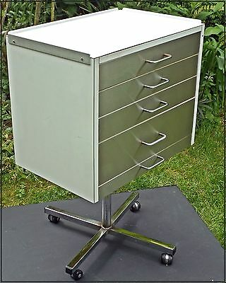 VINTAGE RETRO DANISH CHEST of DRAWERS Industrial SWIVEL CHROME 1960's Office