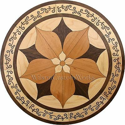 "24"" Assembled Wood Floor Medallion Inlay 92 Piece Ornate Flower Flooring Table"