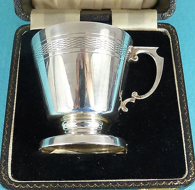 Beautiful Art Deco Sterling Silver Christening Mug Case Lattice Birmingham 1958