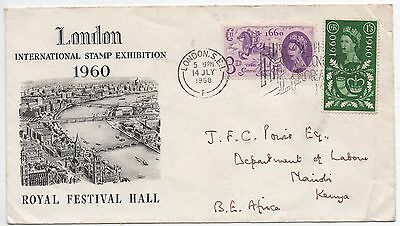 GB 1960 London Stamp Exhibition cover with GPO Tercentenary stamps sent to Kenya