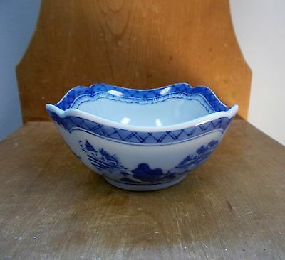 Mid 19th Century Chinese Canton Blue & White Porcelain Bowl