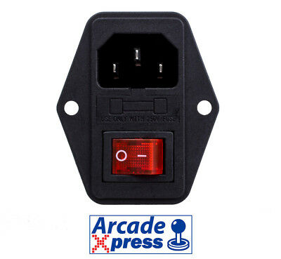 Interruptor Conector Maquina Arcade 3 Pin IEC320 Bartop Switch LED Power On Off