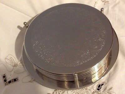 vintage silver plated 6 place mats with holder