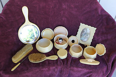 antique  DOLL, LADY HEAD / POWDER PUFF WITH LARGE CELLULOID DRESSER SET
