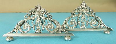 Beautiful Victorian Sterling Silver Menu Holders Leaves William Hutton 1899/1900