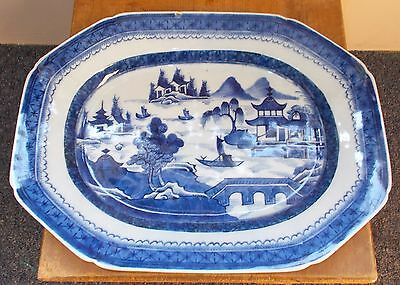 Early Vintage Chinese Export Hand Decorated Blue & White Platter Canton Wane