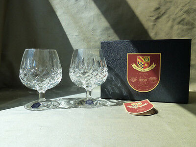 "2 Stuart Crystal Brandy Glasses Etched ""OUR FINEST HOUR"", Signed, Boxed, VGC"