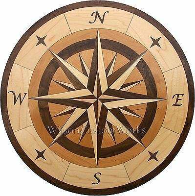"18"" Assembled Wood Floor Inlay 96 Piece Star Compass Medallion Flooring Table"