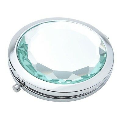 FK Travel Compact Pocket Crystal Folding Makeup Mirror, Mintcream