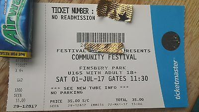 COMMUNITY FESTIVAL TICKET -Saturday 1st July - Finsbury Park