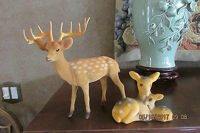 Vintage Flocked Brown Deer Buck Fawn Doe Family Lot of 2 Christmas Decoration