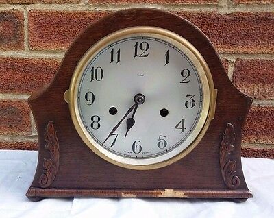 Antique Mantle Clock Mechanism in Wooden Case for restore repair spares