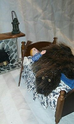 Dollhouse Miniature furry Bear Skin rug, blanket, wall hanging, cozy fire place