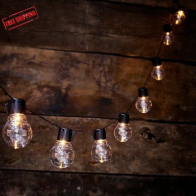 Solar Powered Outdoor Clear Bulb Retro Festoon Lights with 10 LEDs party light