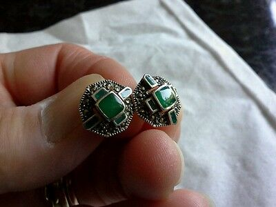 Art deco style silver marcasite and green stone set earrings