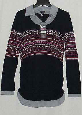 Motherhood Maternity LARGE Sweater NEW NWT Mock Layer Knit Top OH BABY Shirt 12