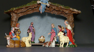 Vintage 1910 ca 14 PC. Chalkware Creche Nativity Made in Italy
