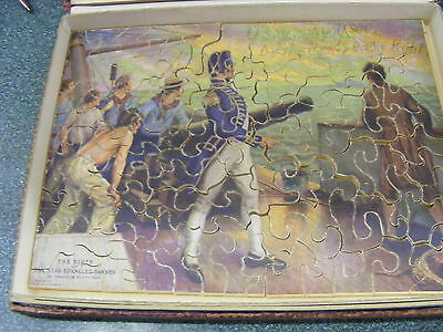 """100 piece wooden Madmar puzzle """"The Birth of the Star Spangled Banner"""" 1920s"""